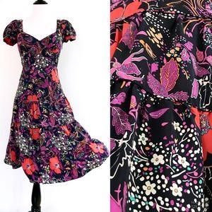 Betsey Johnson Silk Floral Sweetheart Midi Dress 2